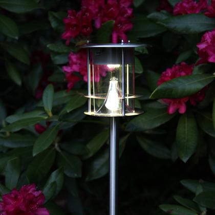 Solcellsladdad trädgårdsfackla i rostfritt stål