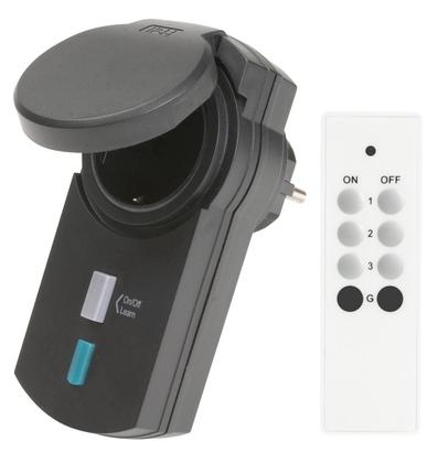 Fjärrstyrt uttag IP44 med fjärrkontroll Smarta Hem
