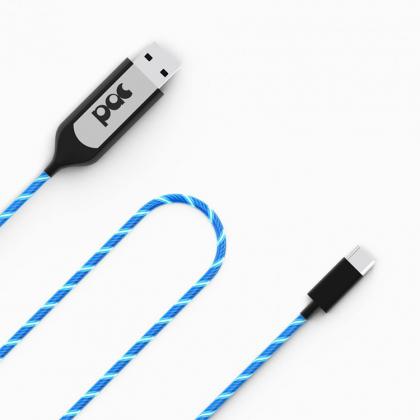 USB kabel med synlig ström, Micro USB Blå