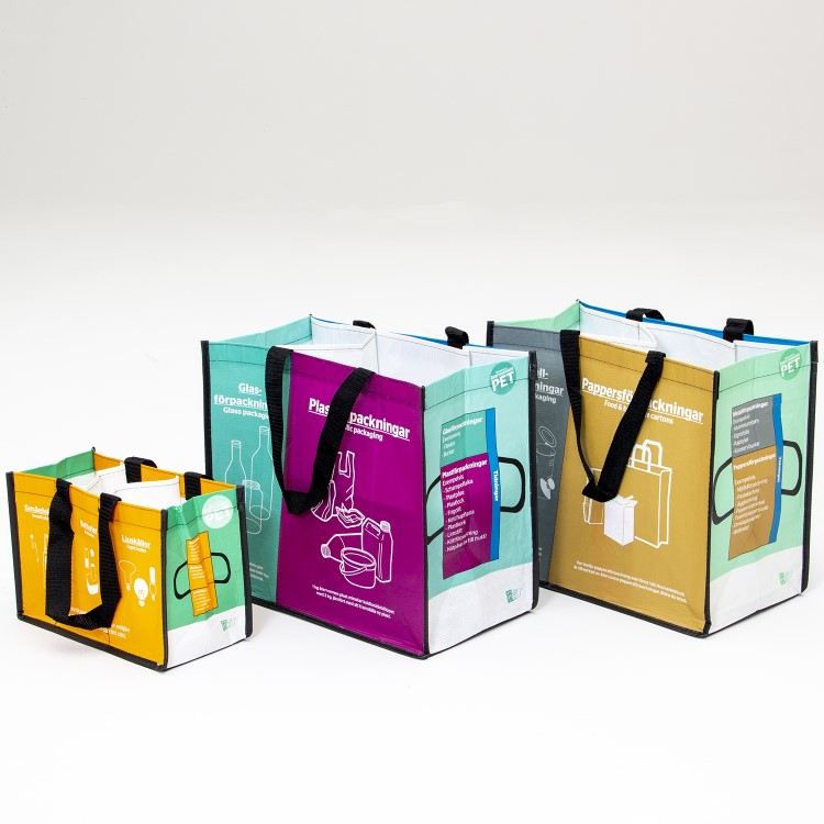 Källsortering, set med tre kassar