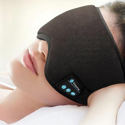 Sovmask med trådlösa hörlurar
