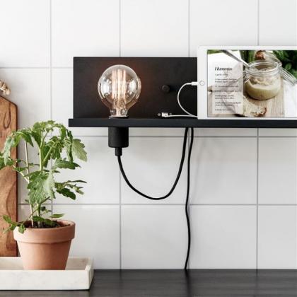 Hylla med lampsockel, dimmer och USB