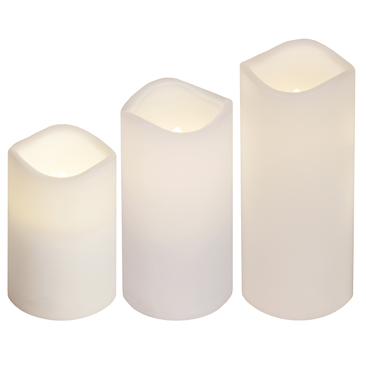 Omtyckta Batteristyrt LED-blockljus med fjärr i vitt 3-pack. LO-38