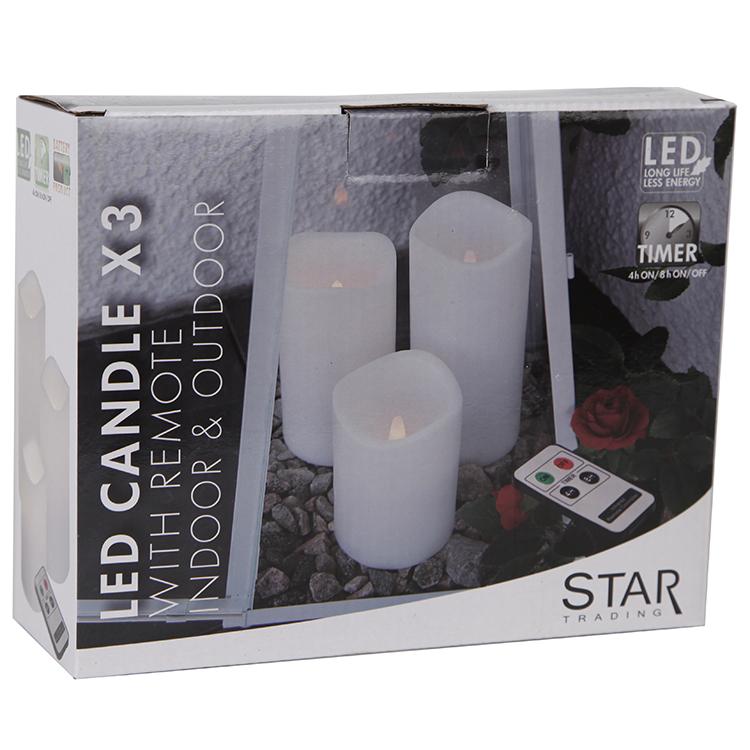 Populära Batteristyrt LED-blockljus med fjärr i vitt 3-pack. IT-61
