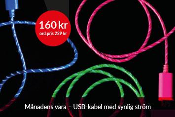 USB-kabel med synlig ström!