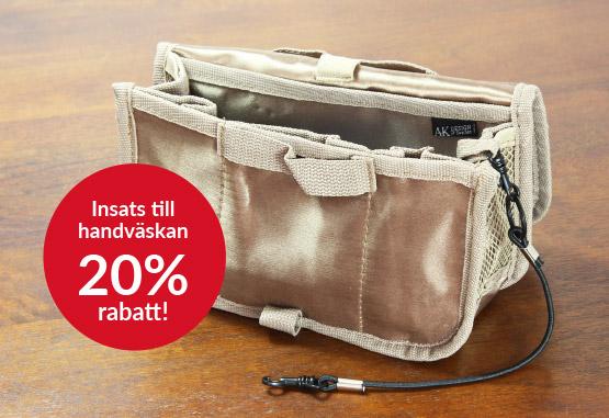 Erbjudande 20% rabatt handväskinsats